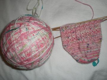 violet's pink ribbon socks in progress