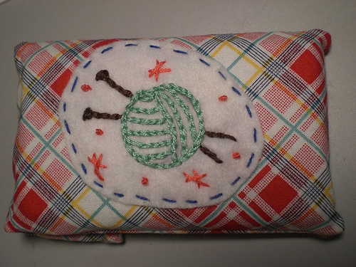 knitting embroidery on ipod case