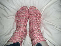 Yarn over cable socks