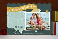 Holiday Map Postcard - Midwest Holiday Photo Cards